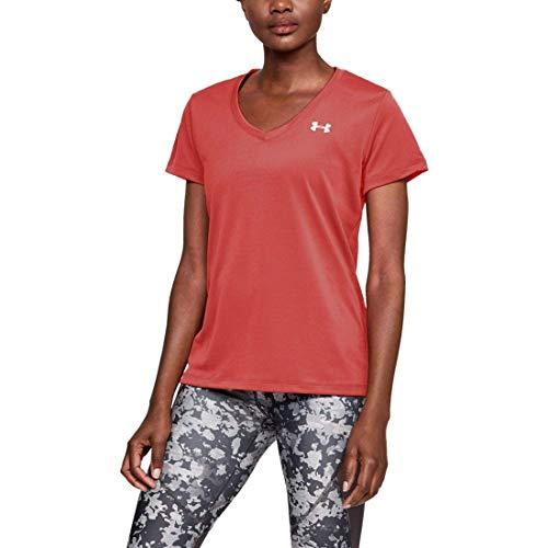 - Under Armour Women's Tech Twist Deep V-Neck T-Shirt, After Burn (877), XS