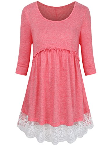 FANSIC Casual Shirts For Women With Sleeve,Round Neck 3/4 Sleeve Empire Waist Soft Lace Splicing Tops Pink (Paisley Empire Shirt)