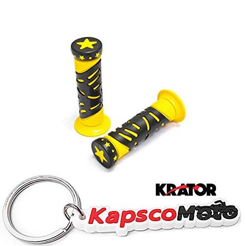 Krator ATVs and WATERCRAFTS Star Gel Style Hand Grips Yellow COLOR QUAD YAMAHA SEADOO WATERCRAFT JET SKI HONDA FOREMAN RECON Kawasaki Brute Force Prairie BRUIN GRIZZLY KODIAK + KapscoMoto Keychain