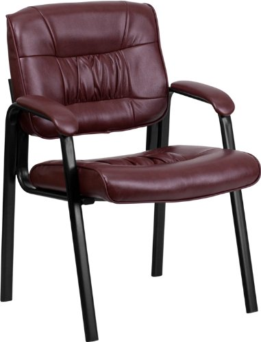Flash Furniture Burgundy Leather Executive Side Reception Chair with Black Frame Finish - Tufted Leather Contemporary Sofa
