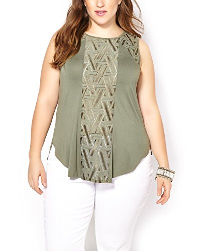 Penningtons Womens Plus Size Sleeveless Top with Embroidery Deep Lichen Green 5X