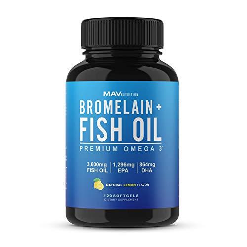 MAV Nutrition Bromelain + Omega 3 Fish Oil Triple Strength, 3,600mg, Burpless, Non-GMO, NSF-Certified, 120 Count (1 Pack)