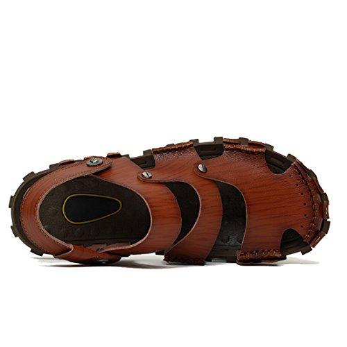 DEKESEN Brown2 Sandal Leather Casual Dk Men's Genuine gvHrgq