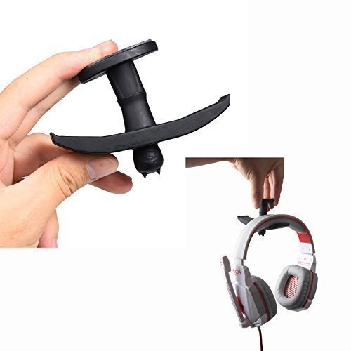 YaPear Headphone Stand, Heavy Duty Rubber Bat-Under-Desk Dual Headset Hooking Holder Mount with Adhesive Sticky for Home and Office (Black)