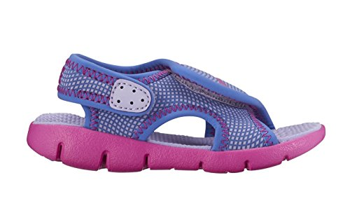 Nike Girls Sunray Adjustable 4 (TD) Toddler Sandal (4 Toddler M, HYDRANGEAS/FIRE PINK-COMET BLUE)