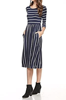 Iconic Luxe Women's Fit and Flare Midi Dress with Pockets in Solid and Striped