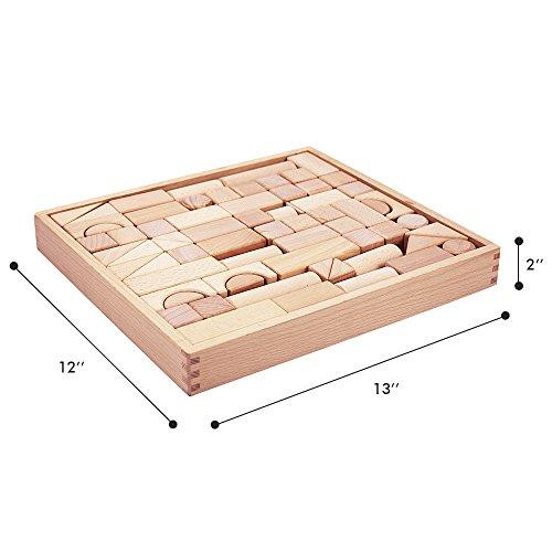 ILearn Kids Wooden Building Block Set Natural IPlay 72 PCS Castle Blocks Kit