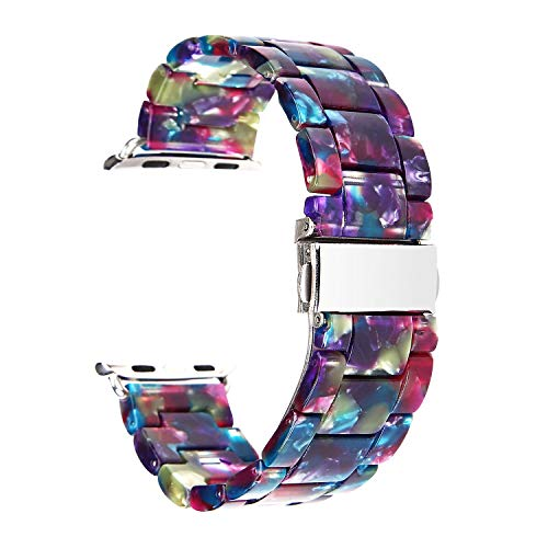 Compatible for Apple Watch Band 38mm 40mm, Women Colorful Resin Sport Band Replacement Strap Compatible for iWatch Apple Watch Series 4 3 2 1 (Band for Apple Watch 38mm 40mm)