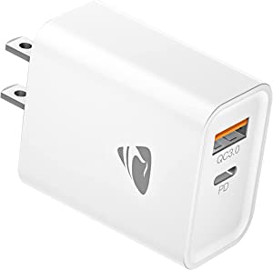 USB C Wall Charger【MFi Certified】 20W 2-Port Charger Block,PD with QC 3.0 Fast USB Charger Plug for iPhone 11 12 Mini Pro Max iPad,Charging Block with Samsung Google Pixel and More