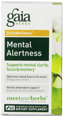 Capsules Herbs Supplements (Gaia Herbs Mental Alertness Liquid Phyto-Capsules, 60 Count)
