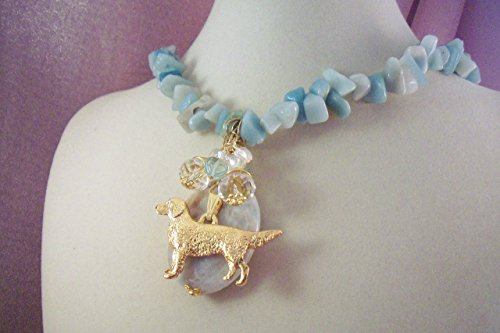 - GOLDEN RETRIEVER THEMED SALE - FREE SHIPPING -GEMSTONE CHARM NECKLACE- HOBBY HORSE LADY jEWELRY- Jewelry for Dog Lovers