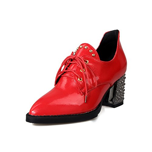 Odomolor Women's Patent Leather Lace-up Pointed Closed Toe Kitten-Heels Solid Pumps-Shoes Red mELKlGR8
