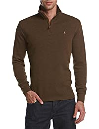 Mens Knit Ribbed Trim Polo Sweater