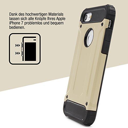 URCOVER® Coque Armor Protection Steel Series Hybrid   Apple iPhone 7   Doree   Housse Bumper Double Anti choc Étui Cover Integrale Case Compléte Arrière