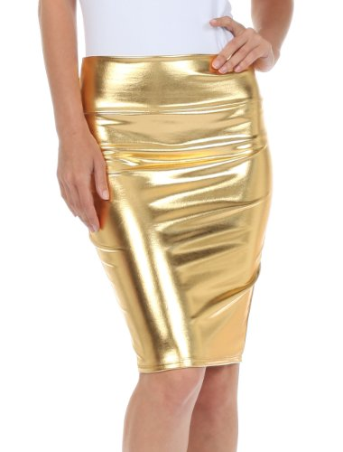 Sakkas 2695 Women's Shiny Metallic Liquid High Waist Pencil Skirt - Gold - X-Large
