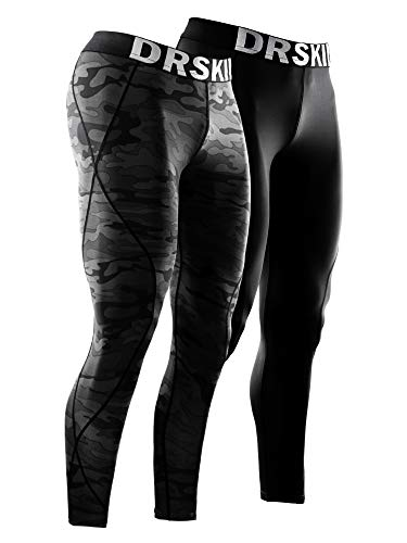 DRSKIN Men's 2 Pack Compression Dry Cool Sports Tights Pants Baselayer Running Leggings Yoga (DABB11+DMBB04, XL)