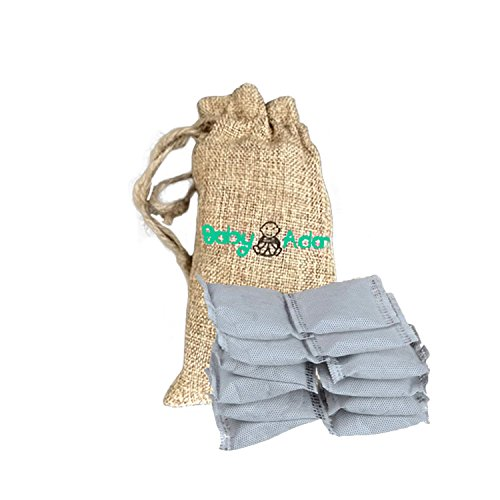 100% Natural Bamboo Charcoal Air Purifier and Diaper Pail Deodorizer-Purifying Bags | Set of 12 bags- For Diaper Genie, Shoe Closets, Cars, Refrigerators & Pets -