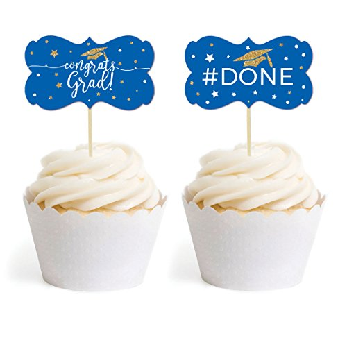 Andaz Press Royal Blue and Gold Glittering Graduation Party Collection, Cupcake Topper DIY Party Favors Kit, Fancy Frame Shape, 18-Pack ()