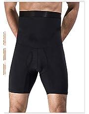 الرجال عالية الخصر البطن الخصر مشد الجسم للتنحيف السراويل الذكور تمتد اللياقة البدنية طبقة مزدوجة طبقات ضغط السراويل الضيقة ، أسود