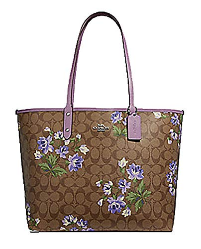 (Coach Reversible PVC City Signature Tote with Lily Print & Removable Pouch (Khaki Multi/Jasmine/Silver) )