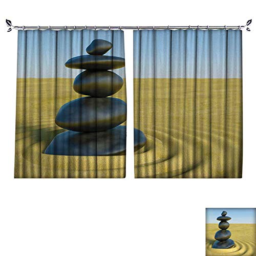 l Protection Material Polyester d Zen Stones in a Zen Sand for Living Room Window,Sun Insulation. W120 x L108 ()