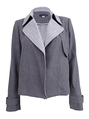 Tommy Hilfiger Womens Contrast Trim Long Sleeves Open-Front Blazer Gray 6