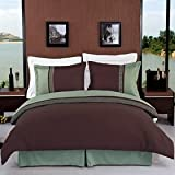 Luxurious 8 Piece Queen Size Astrid Sage & Chocolate Embroidered BED IN A BAG Set. Includes Duvet Cover Set + 100% Egyptian Cotton Bed Sheet Set + Down Alternative Comforter