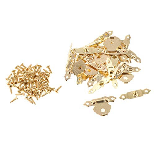 DYNWAVE 12pcs Antique Lock Wooden Case Box Latch Hasp Vintage Triangle Flower Buckle with Screws - Yellow ()
