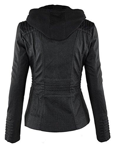 Minetom Mujer Invierno Imitacion Cuero Chaquetas Moto Cazadoras Motorista Abrigos Sudaderas Con Capucha Negro