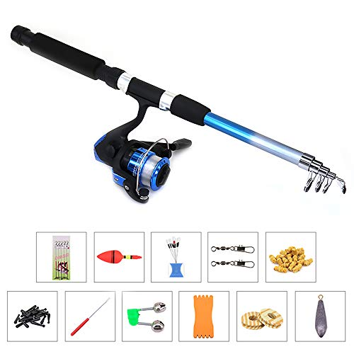 Lixada Telescopic Fishing Reel Rod Combo Set Fishing Pole Spinning Reel Set with Fishing String Hook,Float,Stopper,Barrel Swivels,Lure Particles,Connectors,Line Board,Coils,Sinker