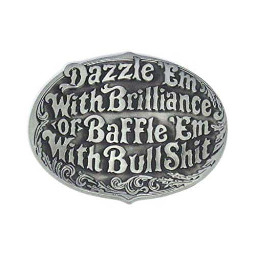 Oval Western Belt Buckles Engraved Dazzle 'Em or Baffle 'Em Novelty Cowboy Belt Buckle for Men Women