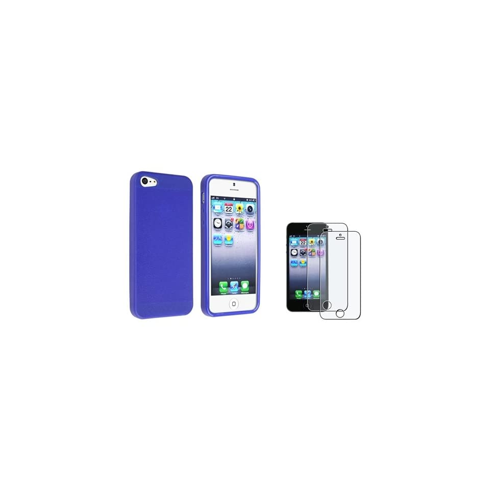 iPhone SE Case, Insten Blue Skin Veins TPU rubber Case with FREE 2x Anti Glare LCD Cover compatible with the NEW Apple iPhone 5 / 5s / 5SE