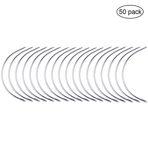Pincute 50 Pcs Weaving Needle, Hair Weave Needle, C Curved Weaving Needle, Wig Making Pins Needles Set for Wig Making, Blocking Knitting, Modelling and Crafts (Hair Weaving)
