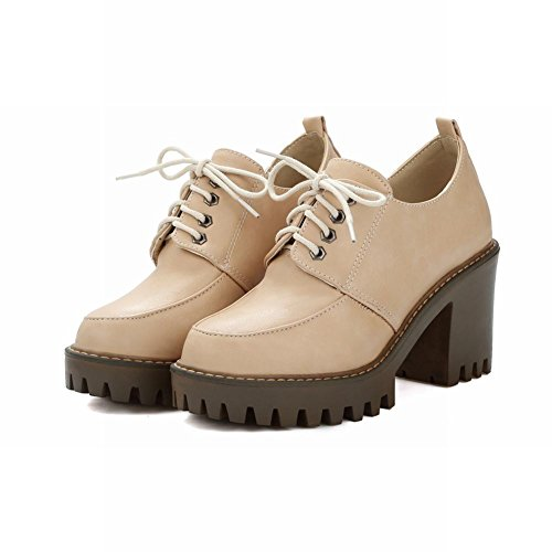 Latasa Womens Platform Block High Heels Oxfords Shoes Beige lreK1e