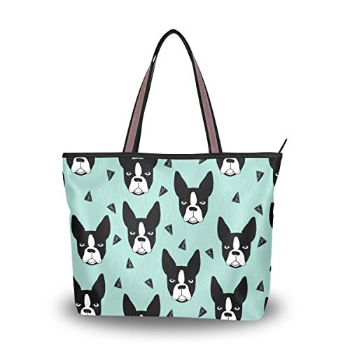 Terrier Zippered Tote - Stylish Boston Terrier Lover Women's Tote Bag -PTNo1 Shoulder Bag Handbags for Hiking Gym Travel Picnic Beach