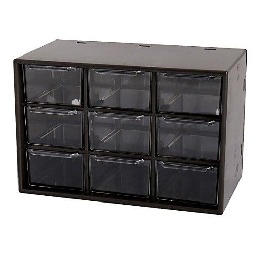 uxcell Plastic 9 Grid Portable Amall Drawer Sorting Jewelry Storage Box Mini Debris Cabinets
