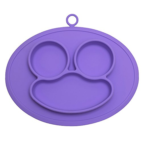 URSMART Mini Size Smile Baby Rice Plate Silicone Food Placemats Kids Suction to Dining Table Kitchen Dinnerware (purple) by URSMART