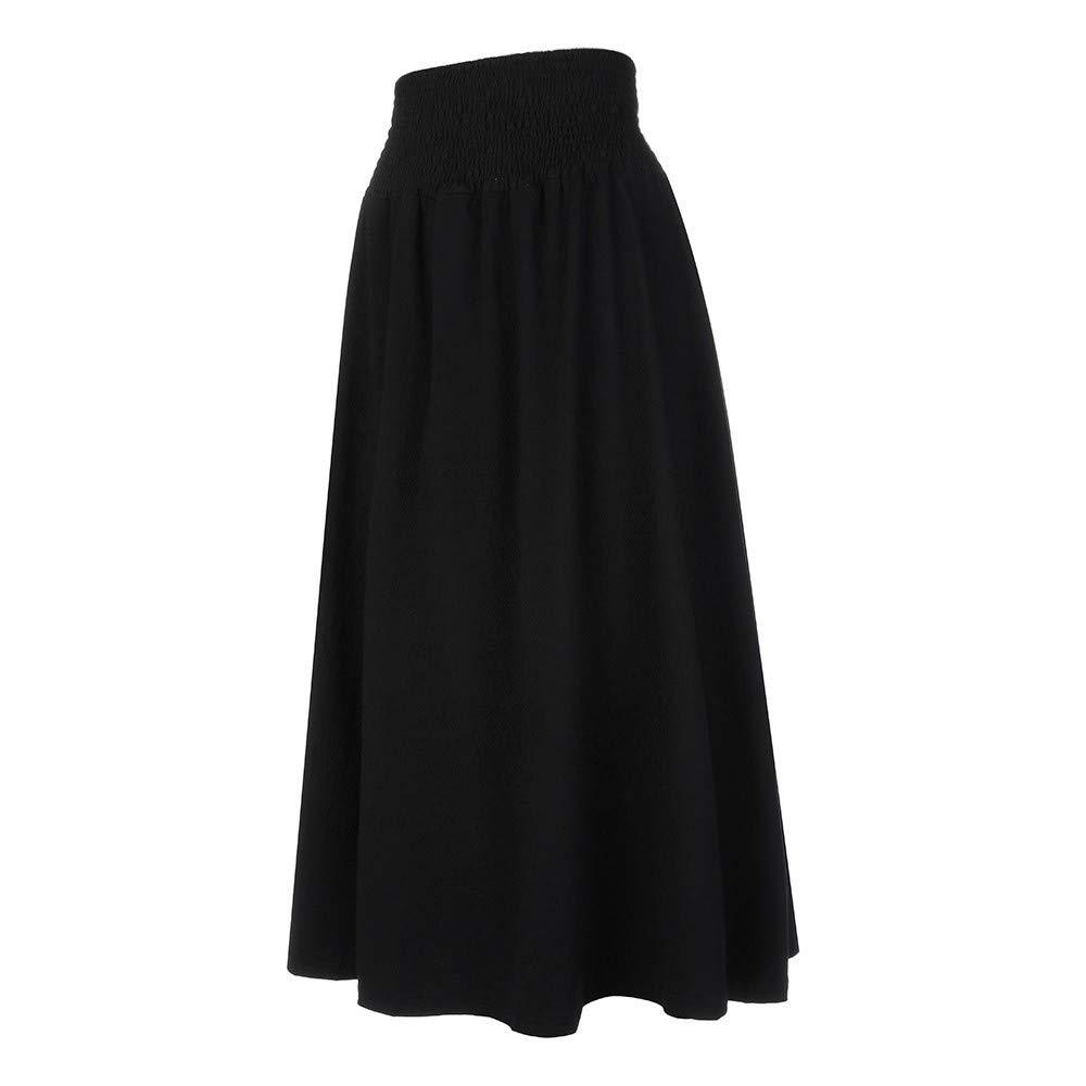 Womens Fashion Elastic Waist Solid Pleated Vintage A-line Loose Long Skirts Black by Cardigo (Image #4)
