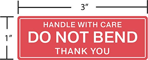 """EPS Handle With Care - Do Not Bend - Thank You Shipping Stickers, 1""""x3"""", 1000 Per Roll (1 Roll)"""