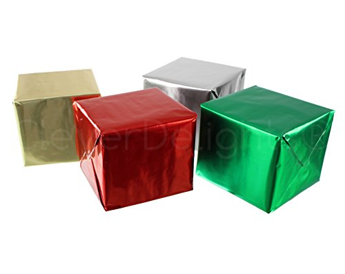 CleverDelights Metallic Wrapping Paper - 4 Rolls - Silver Gold Green Red - 30