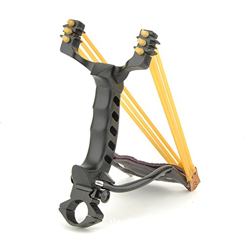 (eForCrazy Professional Slingshot Catapult Pull Sling Shot PowerLine High Velocity Slingshot for Outdoor Sports Hunting Fishing with Two Pair Rubber Bands, Laser light Holder, Mount Stainless)