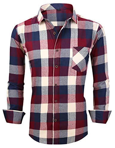(XTAPAN Men's Plaid Casual Regular Fit Long Sleeve Lattice Button Down Dress Shirt US L=Tag 43 Red White M603)
