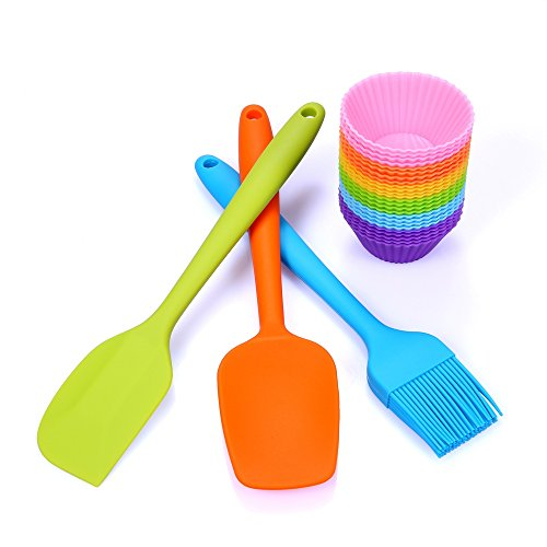 Silicone Cupcake Kit - 24 Baking Cups Liners with Scraper & Spatula & Brush - Reusable Nonstick BPA Free Bakeware Set (Standard Cups + Spatula Set)