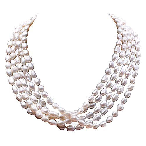 Baroque Double Strands Pearl Necklace (JYX Pearl Multi Strand Necklace Five Strand 7.5-11mm Oval White Freshwater Cultured Pearl Necklace Strand 20