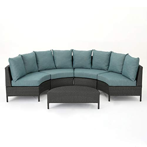 Nessett Outdoor 4 Seater Curved Wicker Sectional Sofa Set with Coffee Table, Gray and Teal (Seating Patio Curved)
