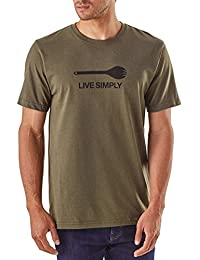 Patagonia Live Simply Spork Responsibili SS Tee, BUFG-Buff-Green, Large