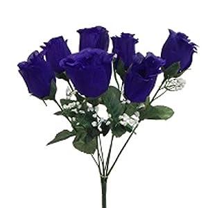 "15"" Rose Bud Bush Silk Wedding Flowers Bouquet Centerpiece Decor 7 Roses (Purple) 1"