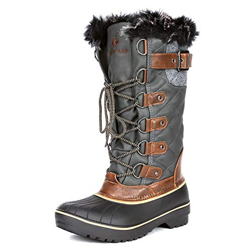 (DREAM PAIRS Women's DP-Avalanche Khaki Faux Fur Lined Mid Calf Winter Snow Boots Size 8 M US)