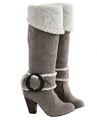 Maybest Dames Herfst Winter Knie Laarzen Hoge Hakken Gesp Laarzen Dikke Hak Laarzen Grijs