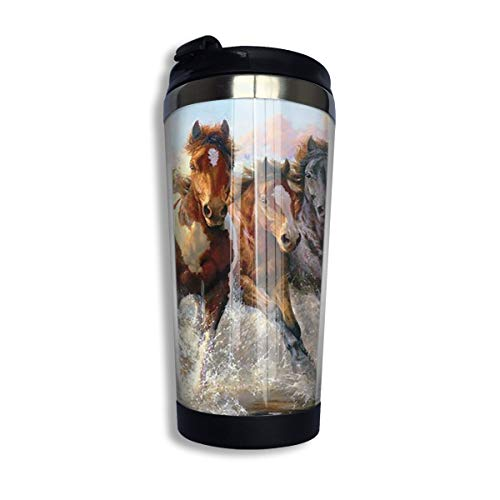 - Changan Stainless Steel Thermal Insulation Water Bottles Running Horse Oil Painting Travel Mug Non-Leaking Sports Bottles for Outdoor Running Camping Gym